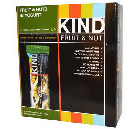 KIND Bars, Fruit & Nuts in Yogurt, 12 Bars, 1.6oz (45g) Each