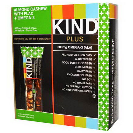 KIND Bars, Kind Plus, Fruit & Nut Bars, Almond Cashew with Flax + Omega-3, 12 Bars, 1.4oz (40g) Each