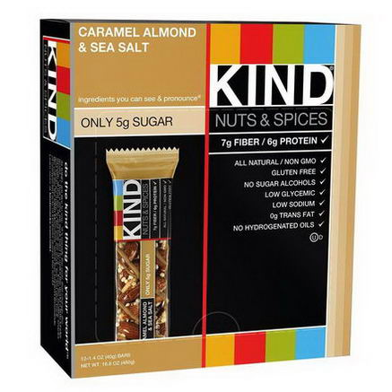 KIND Bars, Nuts & Spices, Caramel Almond & Sea Salt, 12 Bars, 1.4oz (40g) Each