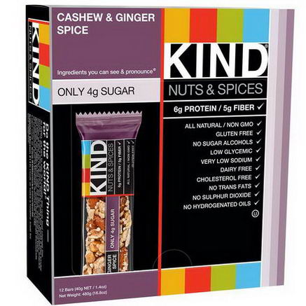 KIND Bars, Nuts & Spices, Cashew & Ginger Spice, 12 Bars 1.4oz (40g) Each