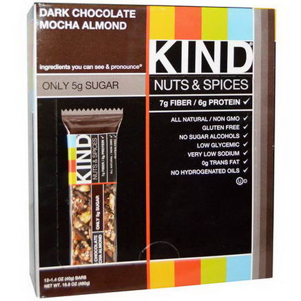 KIND Bars, Nuts & Spices, Dark Chocolate Mocha Almond, 12 Bars, 1.4oz (40g) Each