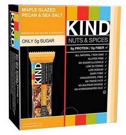 KIND Bars, Nuts & Spices, Maple Glazed Pecan & Sea Salt, 12 Bars 1.4oz (40g) Each
