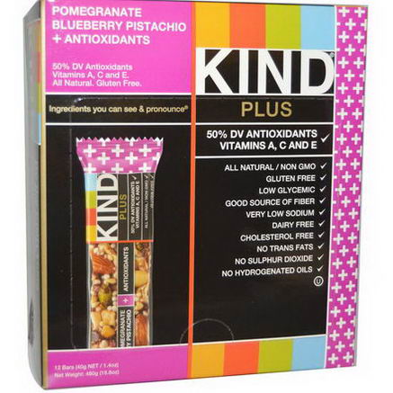 KIND Bars, Plus Bars, Pomegranate Blueberry Pistachio + Antioxidants, 12 Bars, 1.4oz (40g) Each