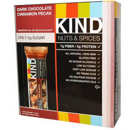 KIND Bars, Nuts & Spices, Dark Chocolate Cinnamon Pecan, 12 Bars, 1.4oz (40g)