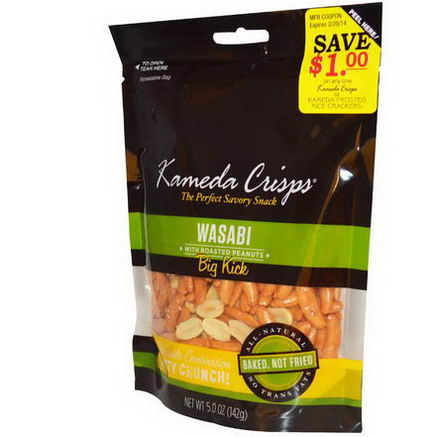 Kameda Crisps, Wasabi with Roasted Peanuts, Big Kick, 5.0oz (142g)