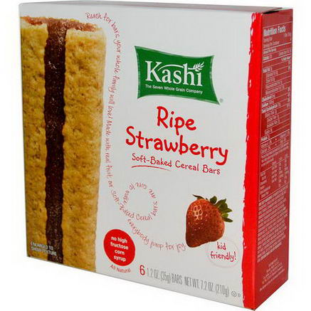 Kashi, Soft-Baked Cereal Bars, Ripe Strawberry, 6 Bars, 1.2oz (35g) Each