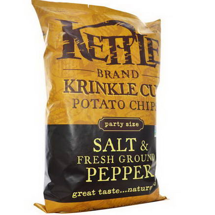 Kettle Foods, Krinkle Cut Potato Chips, Salt & Fresh Ground Pepper, 13oz (369g)