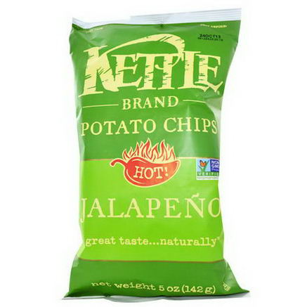 Kettle Foods, Potato Chips, Hot! Jalapeno, 5oz (142g)