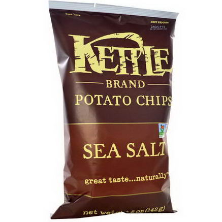 Kettle Foods, Potato Chips, Sea Salt, 5oz (142g)
