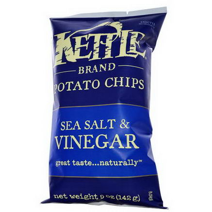 Kettle Foods, Potato Chips, Sea Salt & Vinegar, 5oz (142g)