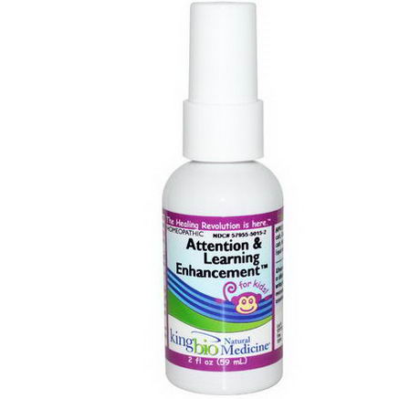 King Bio Homeopathic, Attention & Learning Enhancement, for Kids, 2 fl oz (59 ml)