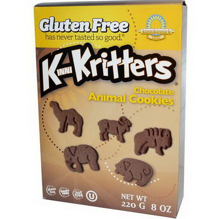 Kinnikinnick Foods, KinniKritters, Chocolate Animal Cookies, 8oz (220g)