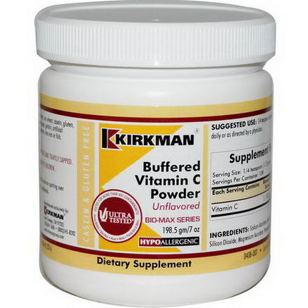 Kirkman Labs, Buffered Vitamin C Powder, Unflavored, 7oz (198.5g)