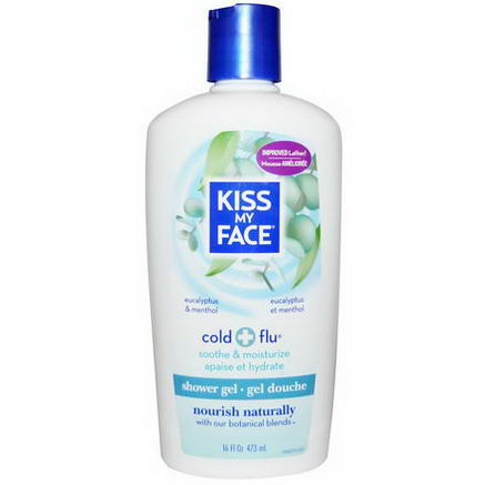 Kiss My Face, Cold + Flu, Shower Gel, Eucalyptus & Menthol, 16 fl oz (473 ml)