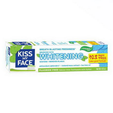 Kiss My Face, Fluoride Free Whitening Toothpaste, Cool Mint Gel, 4.5oz
