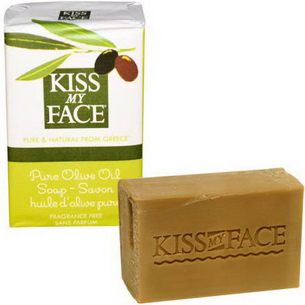 Kiss My Face, Pure Olive Oil Soap Bar, Fragrance Free, 4oz (115g)