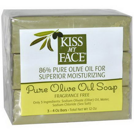 Kiss My Face, Pure Olive Oil Soap, Fragrance Free, 3 Bars, 4oz Each