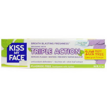 Kiss My Face, Triple Action Fluoride Free Toothpaste With Xylitol, Fresh Mint Paste, 4.1oz