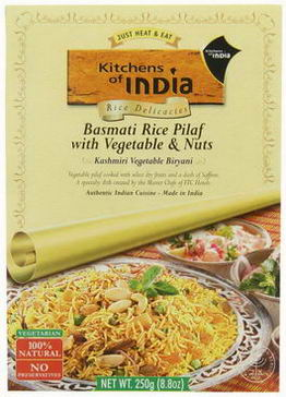 Kitchens of India, Kashmiri Vegetable Biryani, Basmati Rice Pilaf with Vegetable & Nuts, 8.8oz (250g)