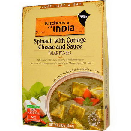 Kitchens of India, Palak Paneer, Spinach with Cottage Cheese and Sauce, 10oz (285g)