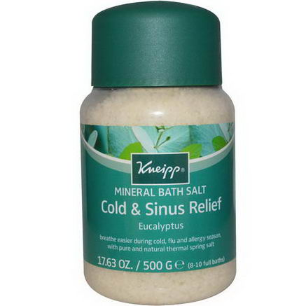 Kneipp, Cold & Sinus Relief Mineral Bath Salt, Eucalyptus, 17.63oz (500g)