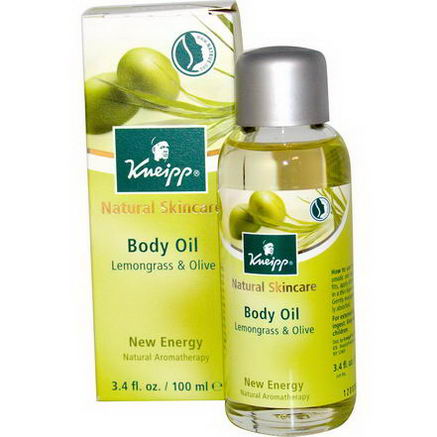 Kneipp, Natural Skincare, Body Oil, Lemongrass & Olive, 3.4 fl oz (100 ml)