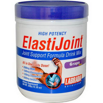 Labrada Nutrition, ElastiJoint, Joint Support Formula Drink Mix, Grape Flavor, 12.35oz (350g)