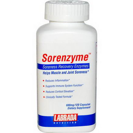 Labrada Nutrition, Sorenzyme, Soreness Recovery Enzymes, 600mg, 120 Capsules