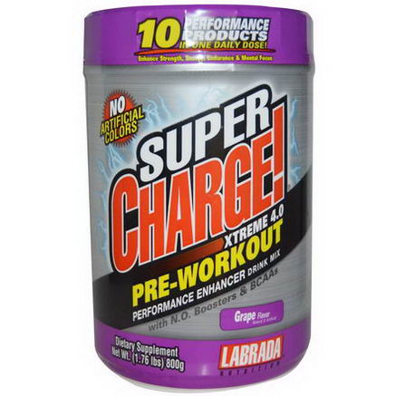 Labrada Nutrition, Super Charge! Xtreme 4.0, Grape Flavor, 1.76 lbs (800g)
