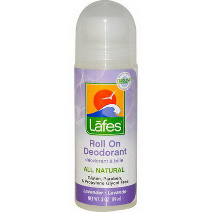 Lafe's Natural Body Care, Roll On Deodorant, Lavender, 3oz (89 ml)