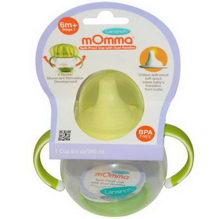 Lansinoh, mOmma, Spill-Proof Cup with Dual Handles, 1 Cup, 8.4oz (250 ml)