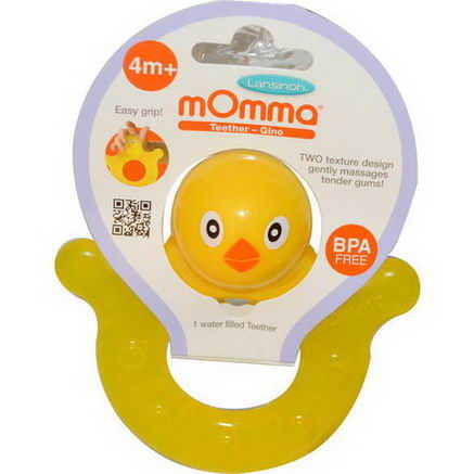 Lansinoh, mOmma Teether, Gino, 1 Water Filled Teether