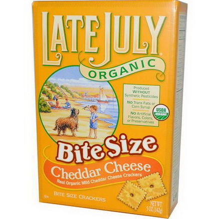 Late July, Organic Bite Size Crackers, Cheddar Cheese, 5oz (142g)