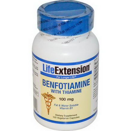 Life Extension, Benfotiamine, with Thiamine, 100mg, 120 Veggie Caps