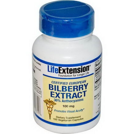 Life Extension, Bilberry Extract, 100mg, 100 Veggie Caps