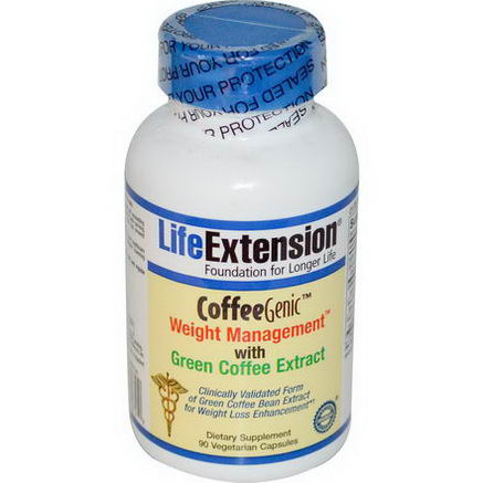 Life Extension, CoffeeGenic, Weight Management with Green Coffee Extract, 90 Veggie Caps