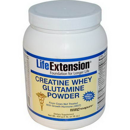 Life Extension, Creatine Whey Glutamine Powder, Natural Vanilla Flavor, 1 lb (454g)