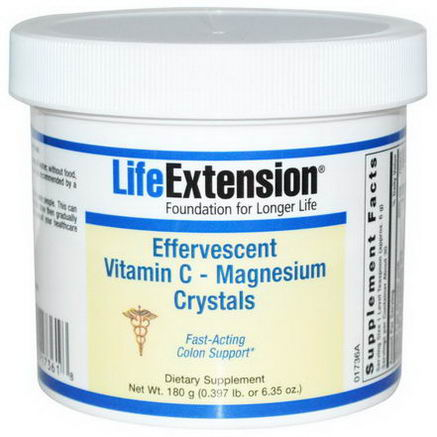 Life Extension, Effervescent Vitamin C - Magnesium Crystals, 6.35oz (180g)