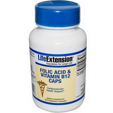 Life Extension, Folic Acid & Vitamin B12 Caps, 200 Veggie Caps