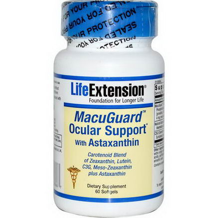 Life Extension, MacuGuard Ocular Support with Astaxanthin, 60 Softgels