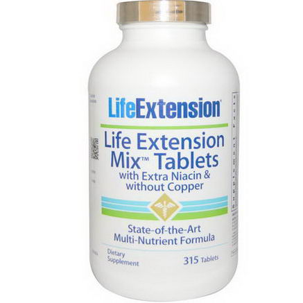 Life Extension, Mix Tablets with Extra Niacin and without Copper, 315 Tablets