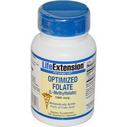 Life Extension, Optimized Folate (L-Methylfolate), 1000 mcg, 100 Veggie Caps