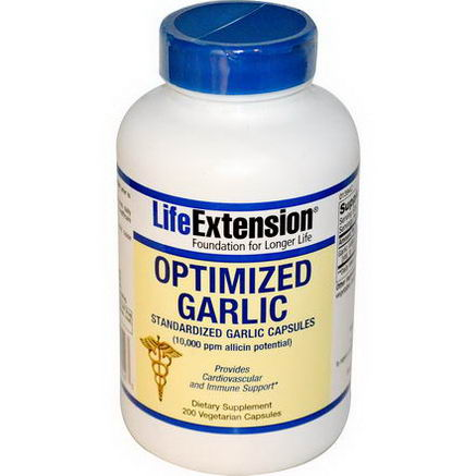 Life Extension, Optimized Garlic, Standardized Garlic Capsules, 200 Veggie Caps