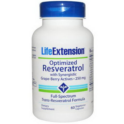 Life Extension, Optimized Resveratrol, with Synergistic Grape-Berry Actives, 250mg, 60 Veggie Caps