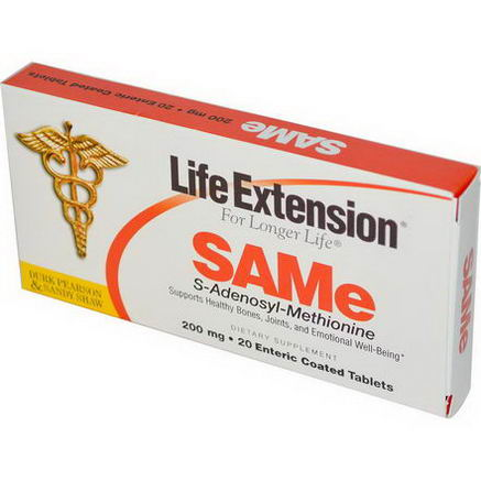 Life Extension, SAMe, 200mg, 20 Enteric Coated Tablets