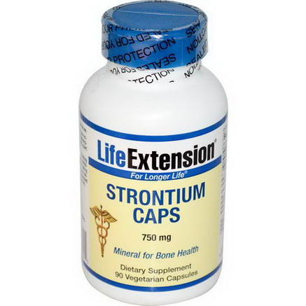 Life Extension, Strontium Caps, Mineral for Bone Health, 750mg, 90 Veggie Caps