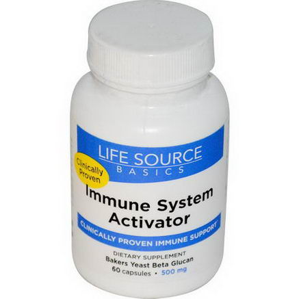 Life Source Basics (WGP Beta Glucan), Immune System Activator, 500mg, 60 Capsules