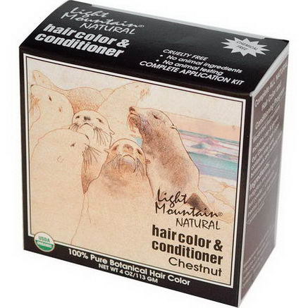 Light Mountain, Natural Hair Color & Conditioner, Chestnut, 4oz (113g)