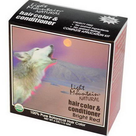 Light Mountain, Natural Hair Color and Conditioner, Bright Red, 4oz (113g)