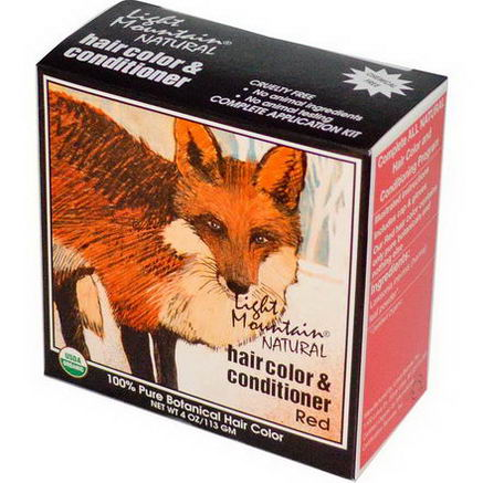 Light Mountain, Organic Natural Hair Color & Conditioner, Red, 4oz (113g)